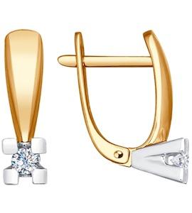 Серьги из комбинированного золота с бриллиантами 1021167