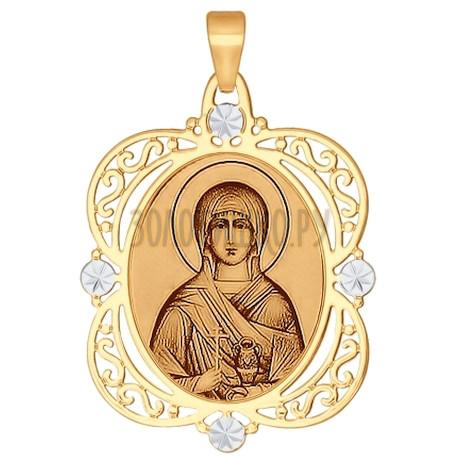 Иконка из золота с алмазной гранью и лазерной обработкой 103155