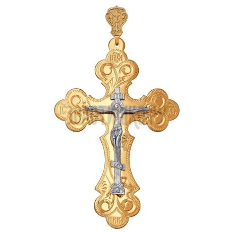 Крест из комбинированного золота с гравировкой 121062