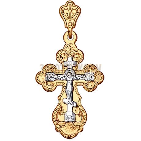 Крест из комбинированного золота с гравировкой 121159
