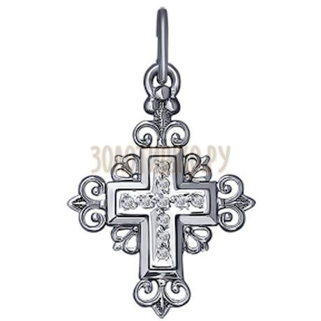 Крест из белого золота с фианитами 121228