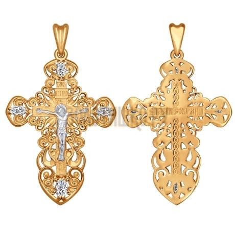 Крест из золота с фианитами 121282