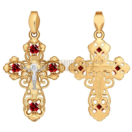 Крест из золота с красными фианитами 121287