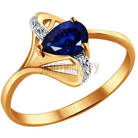 Кольцо из золота с бриллиантами и сапфиром 2010712