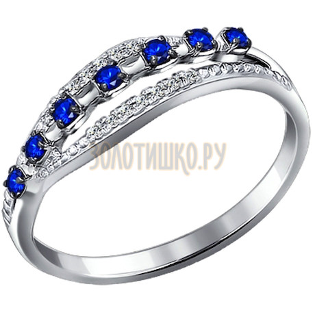 Кольцо из белого золота с бриллиантами и сапфирами 2010972