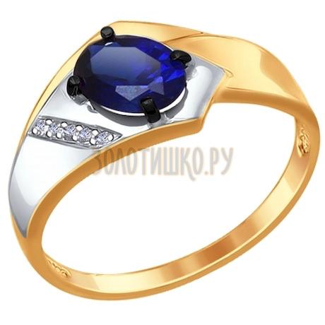 Кольцо из золота с бриллиантами и синим корунд (синт.) 6012088