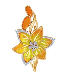 Брошь из комбинированного золота с эмалью с бриллиантами 6049013