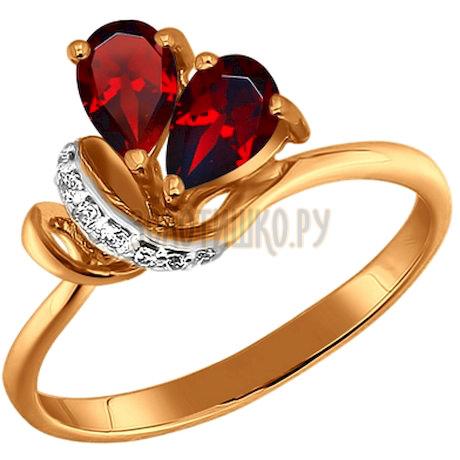 Кольцо из золота с гранатами и фианитами 711022