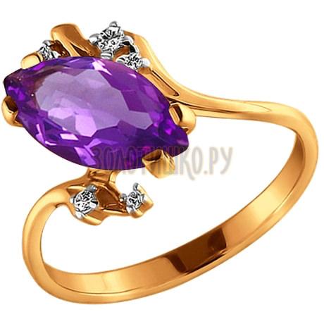 Кольцо из золота с аметистом и фианитами 711825