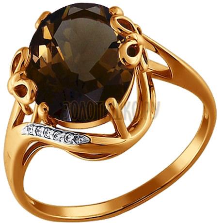 Кольцо из золота с раухтопазом и фианитами 712239