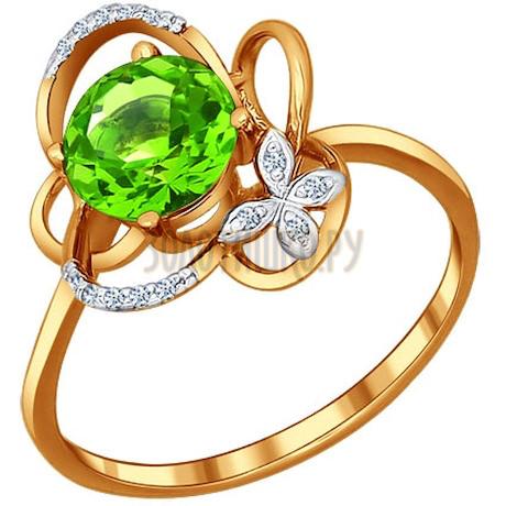 Кольцо из золота с фианитами и хризолитом 712459