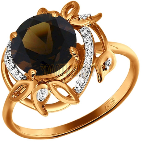 Кольцо из золота с раухтопазом и фианитами 712504