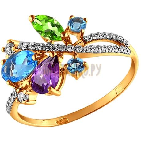 Кольцо из золота c миксом из камней 712572