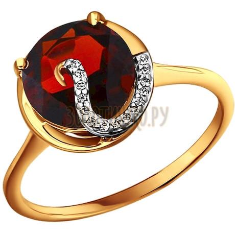 Кольцо из золота с гранатом и фианитами 712703