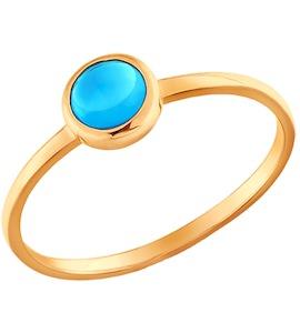 Тонкое золотое кольцо с голубым топазом 712781