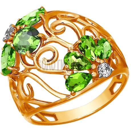 Ажурное кольцо с хризолитами 712888