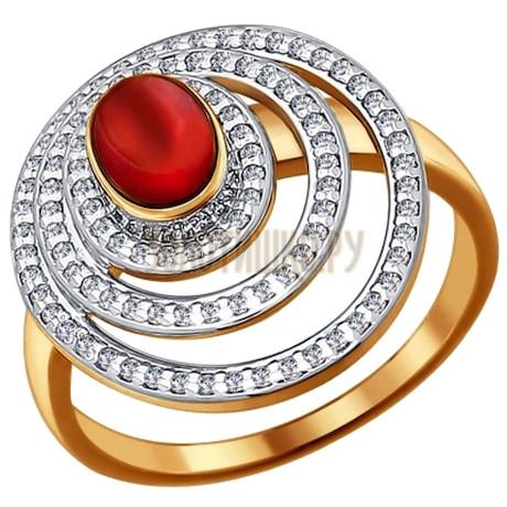 Кольцо из золота с гранатом и фианитами 713038