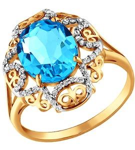 Ажурное кольцо с крупным голубым топазом 713104