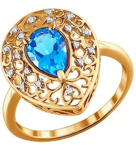 Ажурное кольцо с большим топазом 713152