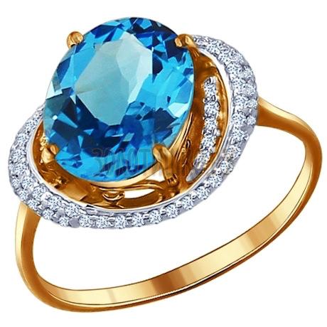 Кольцо из золота с топазом и фианитами 713158