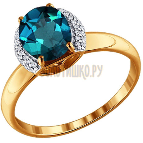 Кольцо из красного золота с топазом  London Blue 713288