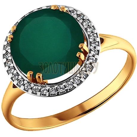 Кольцо из золота с фианитами и зелёным агатом 713292