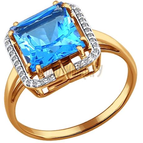 Кольцо из золота с топазом и фианитами 713333