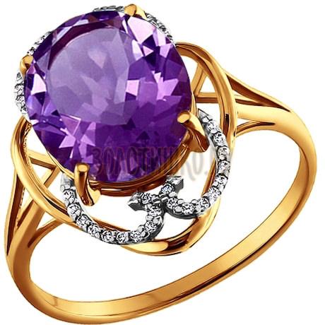 Кольцо из золота с аметистом и фианитами 713385