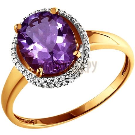 Кольцо из золота с аметистом и фианитами 713419