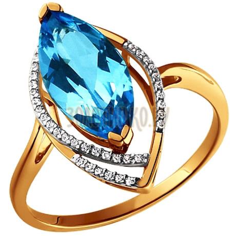 Золотое кольцо с голубым топазом 713421