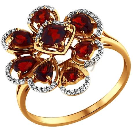Кольцо из золота с гранатами и фианитами 713437
