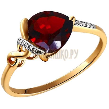 Кольцо из золота с гранатом и фианитами 713458