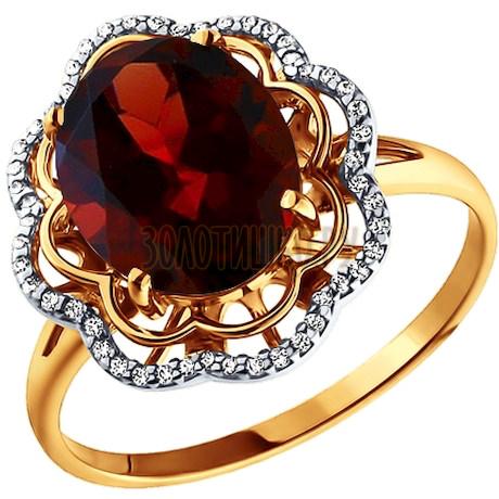 Кольцо из золота с гранатом и фианитами 713486