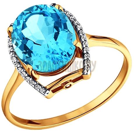 Кольцо из золота с топазом и фианитами 713504