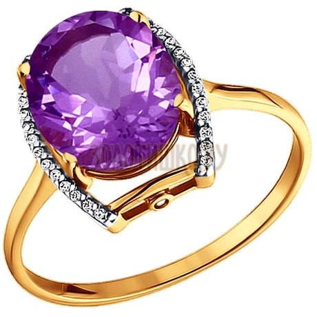 Кольцо из золота с аметистом и фианитами 713508