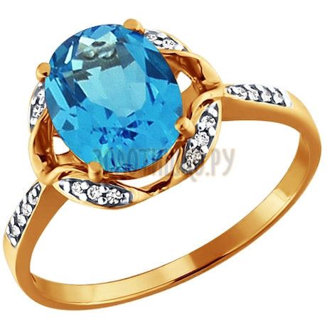 Кольцо из золота с топазом и фианитами 713551