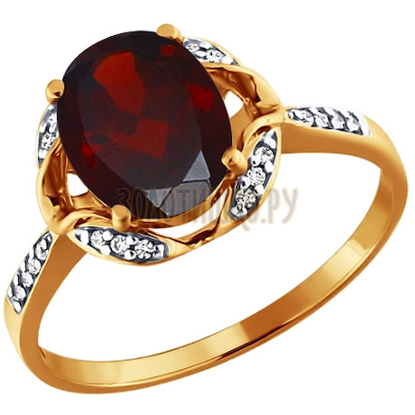 Кольцо из золота с гранатом и фианитами 713553