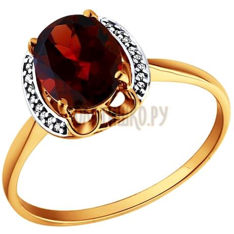 Кольцо из золота с гранатом и фианитами 713573