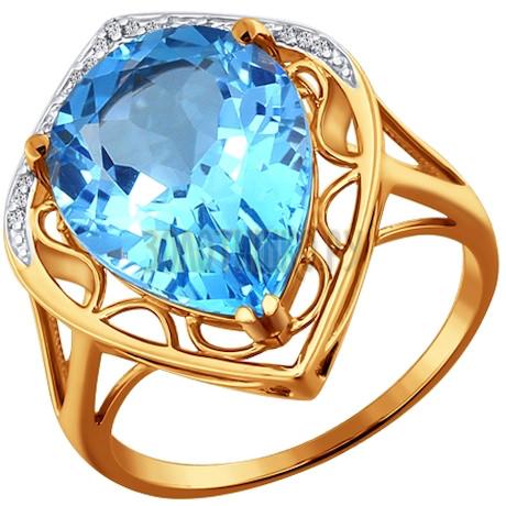 Кольцо из золота с топазом и фианитами 713646
