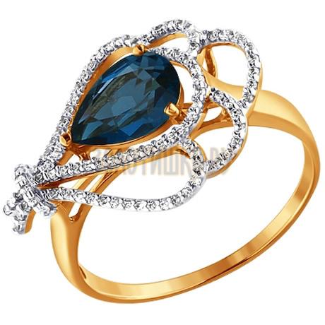 Кольцо из золота с топазом и фианитами 713650