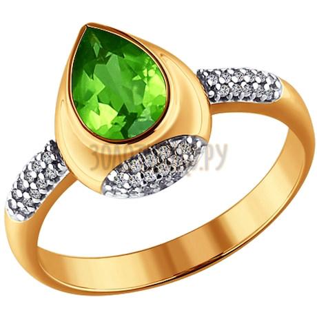 Кольцо из золота с фианитами и хризолитом 713722