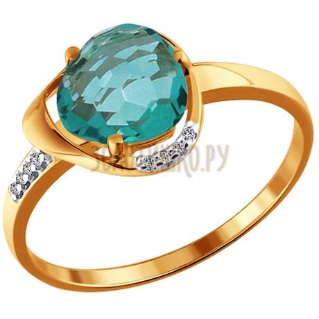 Кольцо из золота с кварцем и фианитами 713729