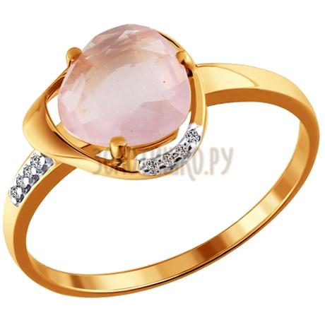 Кольцо из золота с кварцем и фианитами 713730
