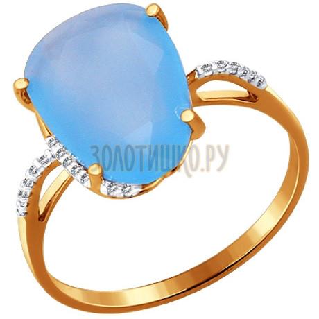 Кольцо из золота с кварцем и фианитами 713760