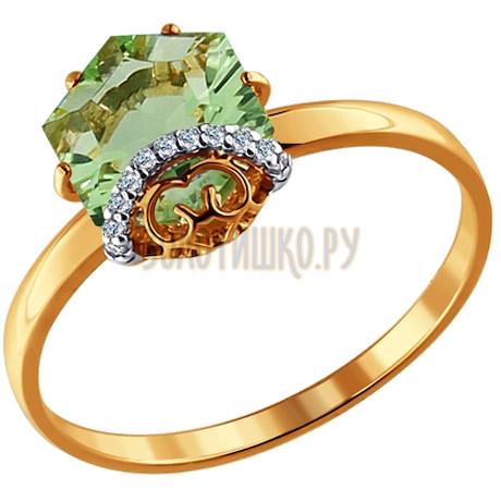 Кольцо из золота с кварцем и фианитами 713772