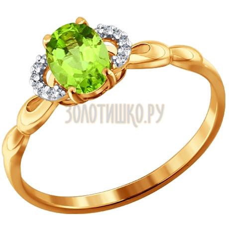 Кольцо из золота с фианитами и хризолитом 713822