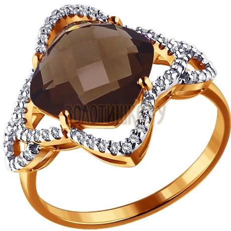 Кольцо из золота с раухтопазом и фианитами 713884