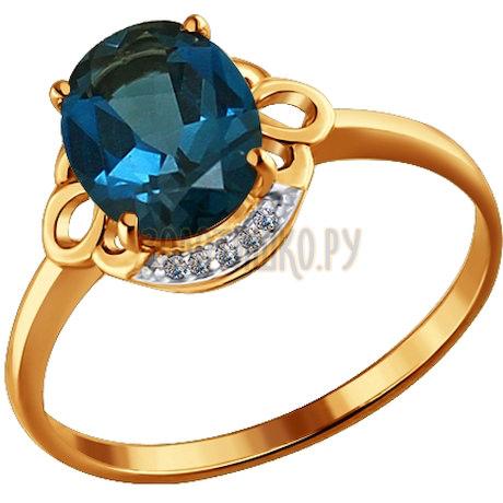 Кольцо из золота с топазом и фианитами 713956