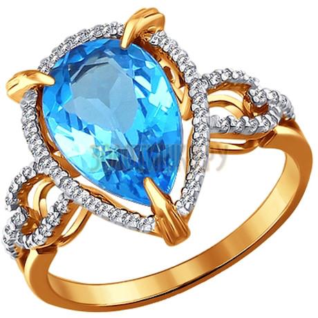Кольцо из золота с топазом и фианитами 713984