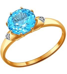 Кольцо из золота с топазом и фианитами 714003